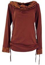 Damen Wild Leder Look Pullover Shirt Weste Jacke Bolero Poncho Fransen Boho E205