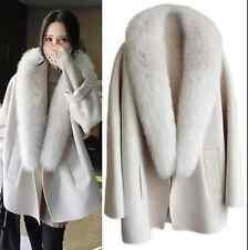 Womens Real Fox Fur Parkas Overcoats Coat Outwear Luxury Woolen Cashmere Korean