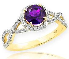 Gold Amethyst Birthstone Infinity Ring with Diamonds Engagement Wedding