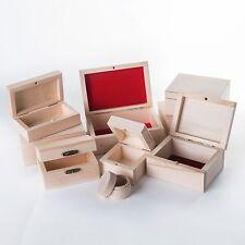Selezione delle piccole in legno gioielli Scatole / Plain incompiuto LEGNO PORTAGIOIE SCATOLA