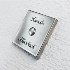 Aufputz Türklingel Klingelplatte aus Edelstahl Aufputzkasten Gravur modern
