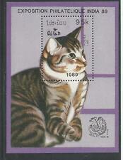 LAOS # 914 MNH CATS.  INDIA '89.  Souvenir Sheet