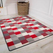 Red Gray Cream Geometric Anti Slip Washable Kitchen Apartment Hallway Runner Mat