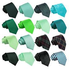 DQT Green Men's Tie Solid Plain Plaid Patterned Floral Paisley Polka Dot Tartan