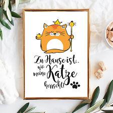 "P268 Wandtattoo Loft Print Illustration "" Home Ist "" Cat Herrscht Cat Cat"