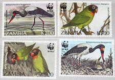 ZAMBIA SAMBIA 1996 656-59 654-57 WWF Vögel Birds Fauna Endangered Species MNH