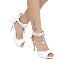 Fashion Women's Rhinestone Ankle Strap High Heels Peep Toe Party Dress Shoes