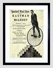 WHEEL CYCLE STUNT SPEEDWELL BINGLEY UK VINTAGE ADVERT FRAMED PRINT B12X907
