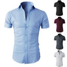 Mens Short Sleeve Shirts Casual Formal Slim Fit Shirt Top  M L XL 2XL
