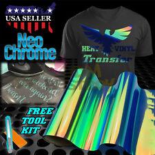 "Neo Chrome Blue Heat Transfer Vinyl HTV T-Shirt 20"" Wide Roll Iron On Heat Press"