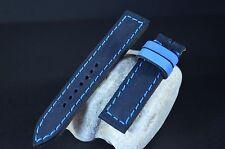 UHRENARMBAND 22 20 18MM HANDMADE LEDER NUBUK BAND FOREST BLUE-NAVY BLUE MA STRAP