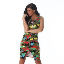 Abito Donna Elasticizzato Miniabito Militare Vestito Aderente Army NUOVO  Sexy e786cfbf843