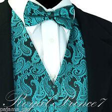 GREEN XS to 6XL Paisley Tuxedo Suit Dress Vest Waistcoat & Bow tie Wedding Prom