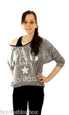 Damen Bluse Shirt Longshirt 2er Set Tunika Longtop Longsleeve Top Vokuhila Stern