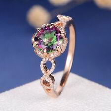 Fashion Women 18K Rose Gold Mystic Topaz Stack Twisted Ring Bridal Women Jewelry