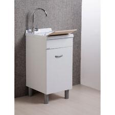 Lavanderia Lavatoio con mobile Sirena Bianco con di asse di lavaggio in legno