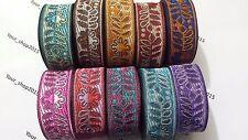 Beautiful stylish embroidered pattern lace trimming Ribbon making craft 2 Yard