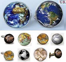 Vintage Globe World Map Cufflinks - Atlas Earth Planet Cuff Links Gift - UK