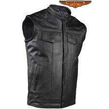 Concealed Carry Black Leather Motorcycle Club Vest SOA Biker