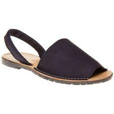 New Womens SOLE Blue Toucan Nubuck Sandals Flats Slip On
