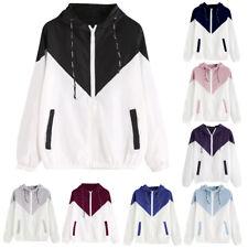 Plus Size Women Long Sleeve Patchwork Hooded Zipper Pockets Sport Coat Jacket