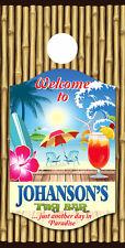 SINGLE Cornhole Board Wrap -DECALS-VINYL WRAP- PERSONALIZE Tiki Bar- Your Name