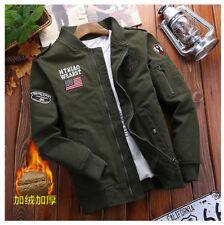 Men's Zipper Flight Jacket Military Army Baseball Coat Outerwear Short Fall New