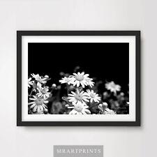 Negro Blanco Margarita Floral Flores impresión de arte poster A4 A3 A2 Diseño de decoración del hogar