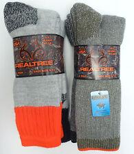 REALTREE Men's Merino Wool Blend Socks *Orange/Black/Green/Ass't *2 Pair Sz 9-13