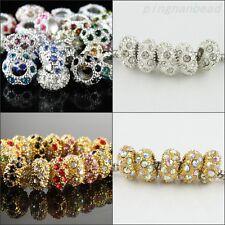 10X Czech Crystal Silver Gold Big Hole Charms Beads Fit European Charm Bracelets