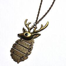 Hirsch Geweih Kette Halskette Reh Elch Rentier Vintage Hirschkopf bronze