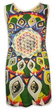 MIRROR Damen Träger-Kleid Blume des Lebens Mandala Yoga Tunika Rad Goa Psy S M L