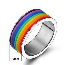 Unisex Arco iris rainbow multicolor Anillo goma rubber PRIDE Rayas Banda NUEVO
