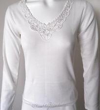 Ladies V Neck Merino Wool Blend Thermal Top (Sz 10-22) Off White