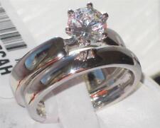 W805  WOMENS WEDDING BAND SET ENGAGEMENT RING 2PC PLAIN SOLITAIRE RHODIUM