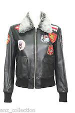 TOP GUN Black Ladies Jet Fighter Bomber Navy Air Force Fur Pilot Leather Jacket