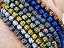 Hematite Gemstone Happy Face Buddha Beads Metallic Silver Gold Multi-Color 16''