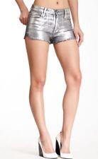 Frankie B. Women's Metallic Hi - Rise Denim Shorts