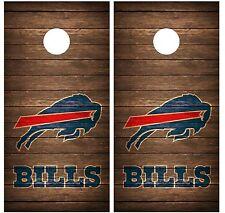 Buffalo Bills Vintage Wood Cornhole Board Decal Wrap Wraps (brown)