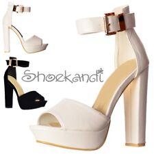 Womens Belle Platform Peep Toe Block High Heels Ankle Strap Black Suede White PU