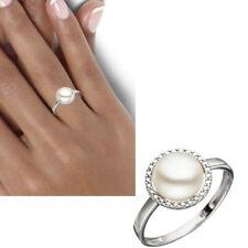 NEU Damen Ring 333 echt Gold Weißgold 8 Karat Süßwasser Perle  50 54 56 58