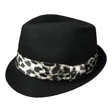 Mens Womens New High Quality Black Trilby Hat W/Leopard Fabric 39284-2