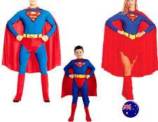 Man Women Kids Children Super hero Superman Halloween Party Costume Cape Set