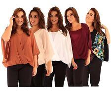 New Womens Plus Size Wrap Front Kimono Batwing Sleeve Chiffon Tops 16-26
