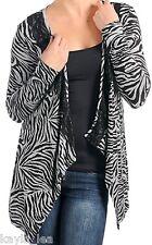 Black/Gray Zebra/Tiger L/Sleeve Lace Trim Drape Bolero/Shrug/Cardigan/Cover-Up