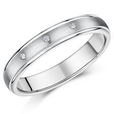 Anillo De Titanio 3 Piedra Diamante Boda 4mm Banda