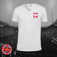 Poland Inspired Football Retro Personalised Retro V-neck T-shirt, World Cup