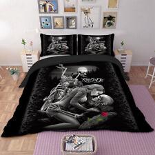 Ride Skull Duvet Cover Quilt Cover Set Twin Queen King Size Bedding Set Black
