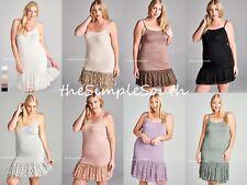 New ODDI Long Ruffle Lace Jersey Knit Cami Tank Top Dress Extender Slip Liner