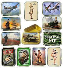 Military 2oz Gold Tobacco Tin, Stash Can, Storage Tin,12 Design's Survival, Tank